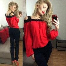 Women Sexy Off Shoulder Long Sleeve Shirt Lace Chiffon Blouse Loose Top