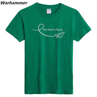 2015 Top Rate Man S Printing T Shirts MY HEARTLY FLYING 100 Cotton O Neck Loose