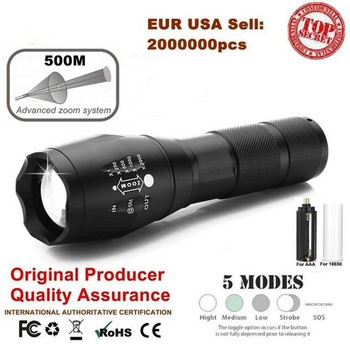 Ultrafire Portable Zoom Flashlight XML-T6 5 Mode LED Flashlight Torch Hunting Waterproof Camping Tactical Switch Luz Flashlight ultrafire led flashlight xml t6 lantern tactical flashlight 5 mode waterproof torch 18650 battery