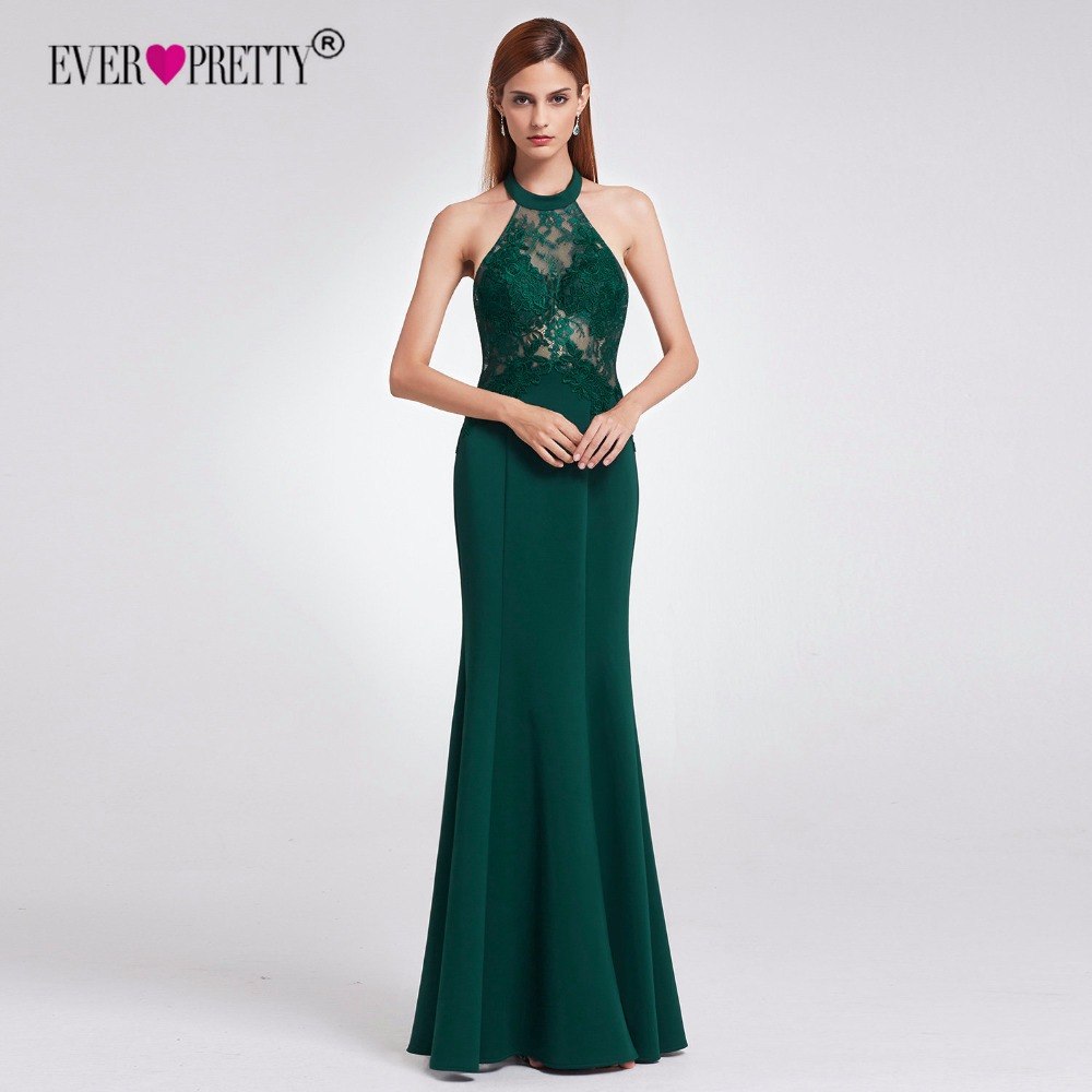 Ever Pretty Long   Evening     Dress   2018 New Arrival Elegant Halter Backless Mermaid Lace Formal Party Gown Vestito Da Sera EP07188DG
