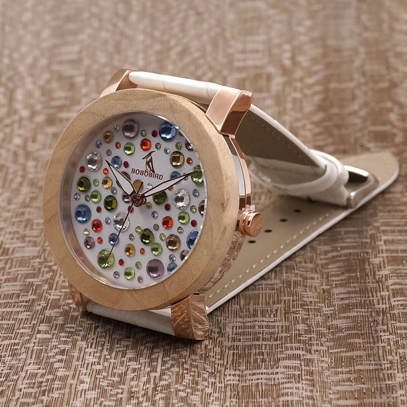 BOBO BIRD L-J05 Manufacture in China Watch Women Timepieces Maple Ring Colored Diamonds Drop Shipping Female Saat Private Label stainless steel axle sleeve china shen zhen city cnc machine manufacture