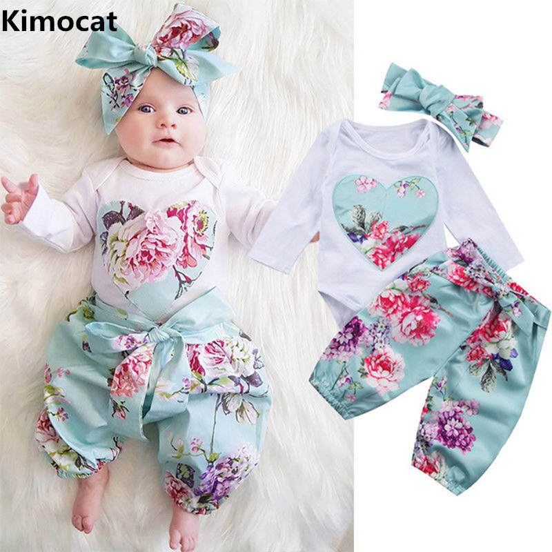3PCS Set Newborn Floral Baby Girl Clothes 2017 Summer Sleeveless Cotton Ruffles Romper Baby Bodysuit +pants+Headband Outfits Sun