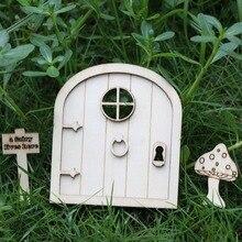OurWarm 6Pcs DIY Wooden Fairy Elf Door Craft Kit Christmas Decoration Vintage Miniature Garden Garland Decor Gift