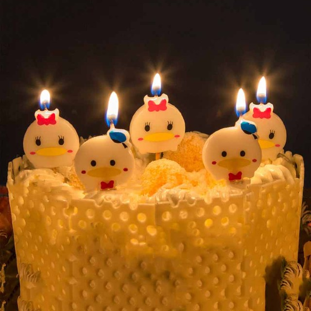 Birthday Candles Safe Flames Cartoon Duck Candle Cake Cupcake Topper Party Kids