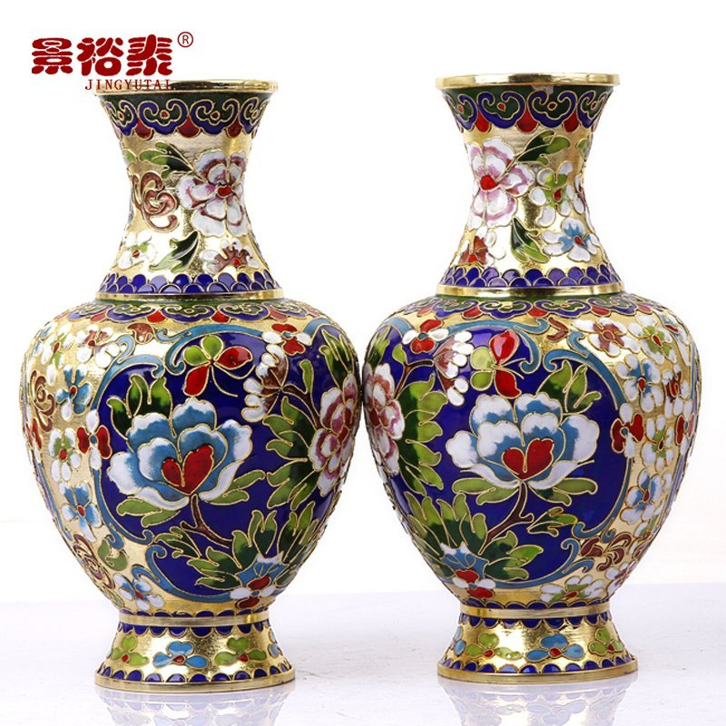 8 Exquisite1pair2pcs Gold Flower Cloisonne Vase Ornament Home