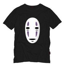 Hayao Miyazaki Japanese Cartoon No-Face t-shirt Tees Man Spirited Quality shirts No Face Faceless T Shirts Summer Clothing