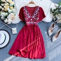 2019 new fashion women's dresses Bohemian ethnic style heavy embroidery dress