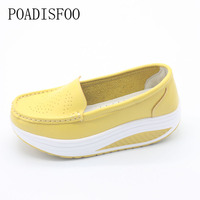 Genuine Leather Real Photo Women S Fashion Wedges Shoes Casual Slippers Platform Shoes For Women Flower