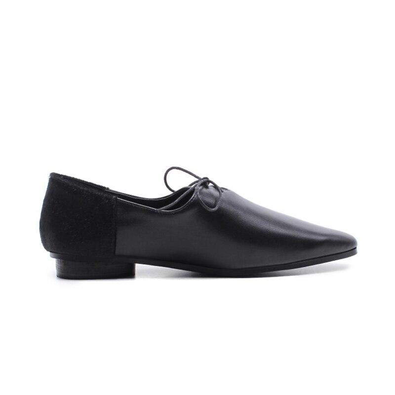 Taille Noir En Derby Cuir blanc Grande Chaussures Noir Bureau Appartements up Véritable Pointu Enmayer 43 Bout Blanc 34 Femme Dentelle Dames qZ7pEFw
