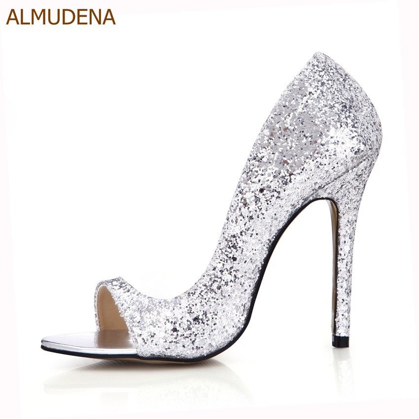 ALMUDENA Bling Bling Sequined Dress Shoes Thin High Heel Sparkling Bridal Shoes Nightclub Girls Stage Pumps Shining Paillette metallic platform dress pumps colorized chunky heel sandals bling bling sequined bridal shoes glittering paillette thick heels