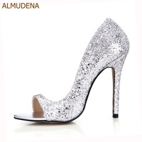 Almudena بلينغ بلينغ مطرزة اللباس أحذية كعب رقيقة عالية تألق حذاء الزفاف ملهى بنات المرحلة ساطع شىء