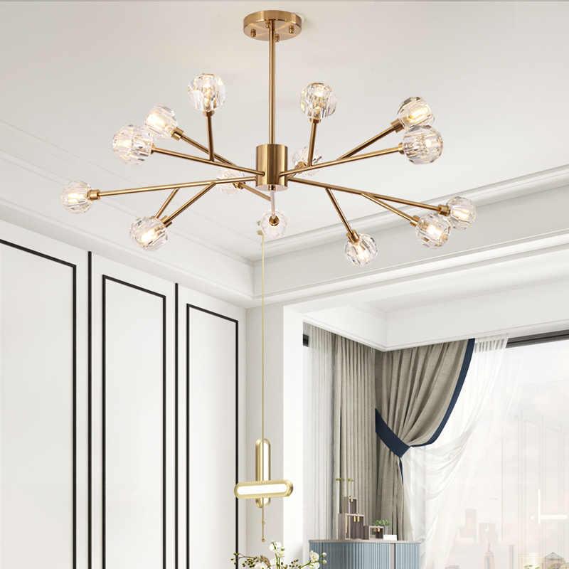 Скандинавские минималистичные люстры, роскошные хрустальные лампы для гостиной, Волшебная молекулярная лампа в виде бобов, освещение в спальню