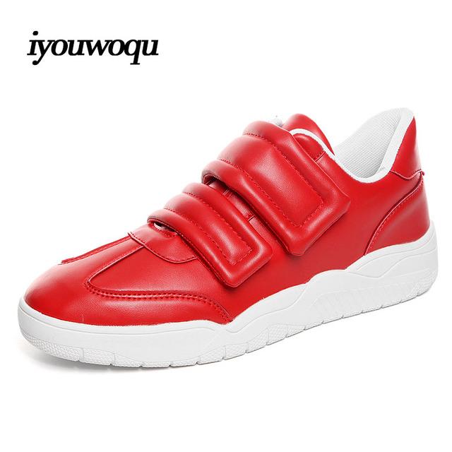 IQ zapatos Del Diseñador de los hombres de lujo 2016 otoño Nuevos zapatos Casuales para los hombres de Moda los hombres Chaussures hommes de deporte negro rojo Blanco 8712