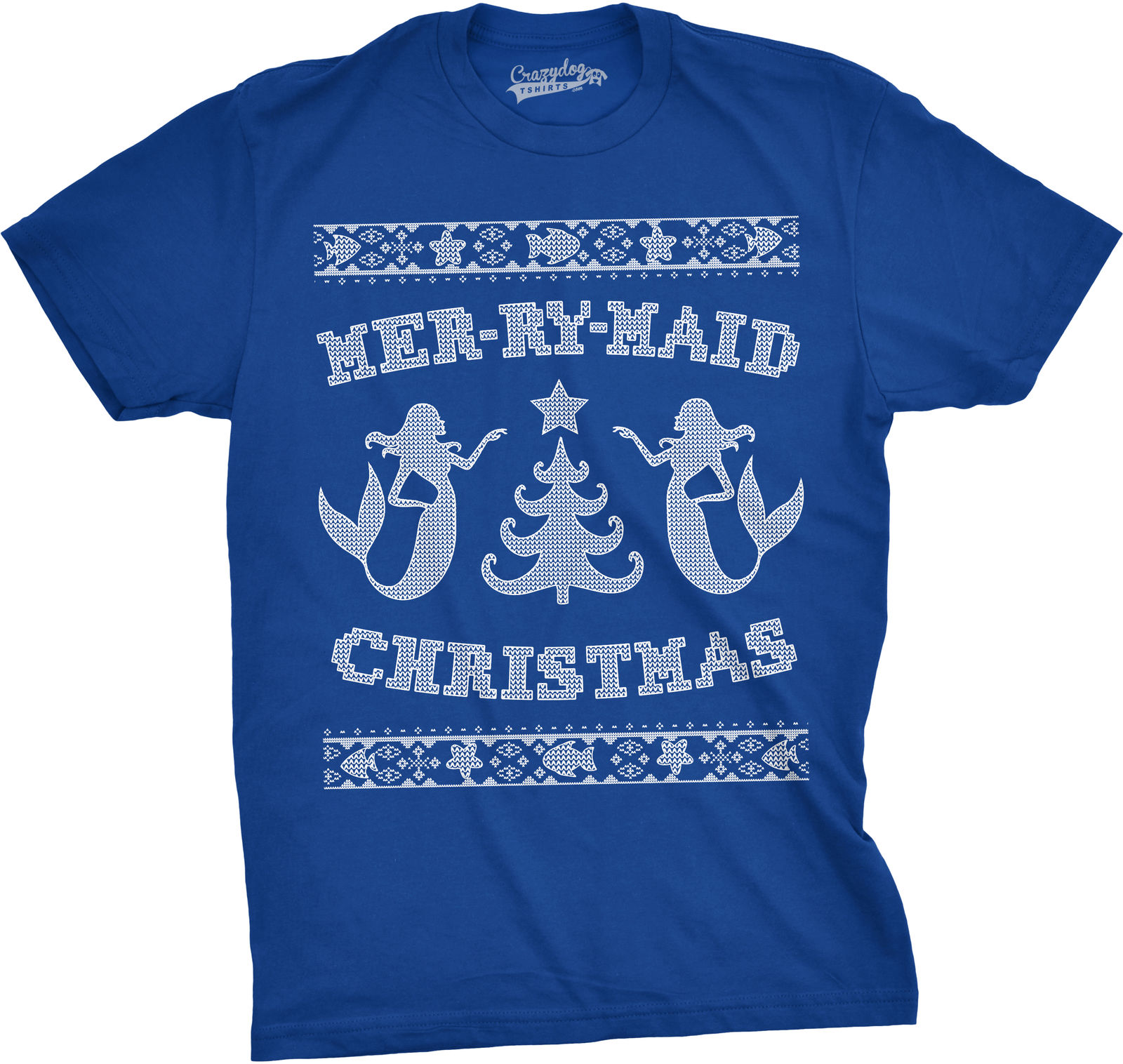 Blue And White Christmas Sweater.Us 13 04 13 Off Mens Mer Ry Maid Tshirt Christmas Funny Sarcastic Mermaid Ugly Sweater Tee Cotton Casual Shirts White Top In T Shirts From Men S