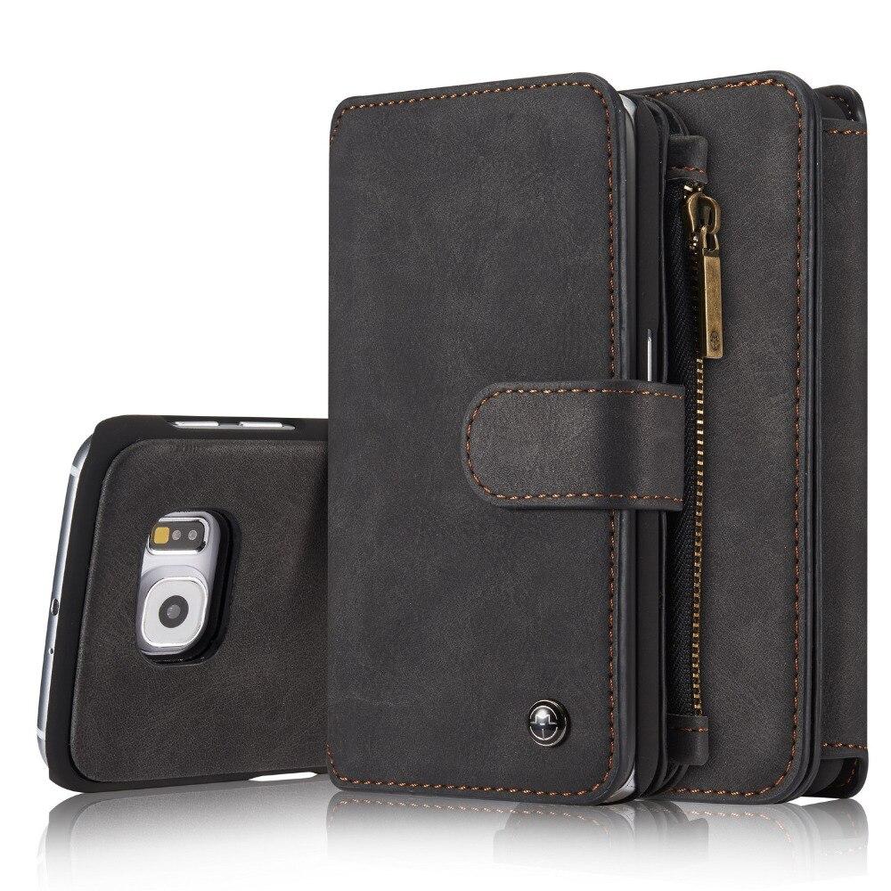 imágenes para Lujo CaseMe Wallte Tirón Casos de Cuero Desmontable de La Contraportada para Samsung Galaxy Note 5 S6 S7 S6 edge Plus Volver Shell Bolsas