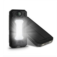 Universal Portable Source Ultra Thin 20000mAh Solar Mobile Power Bank Flashlight Phone Charging Treasure With Compass