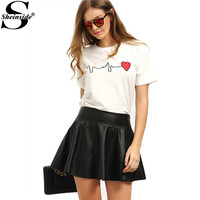 Sheinside Summer Women's White Short Sleeve Heart Print Tops Cute Tees Round Neck Loose Casual Wear T-shirt