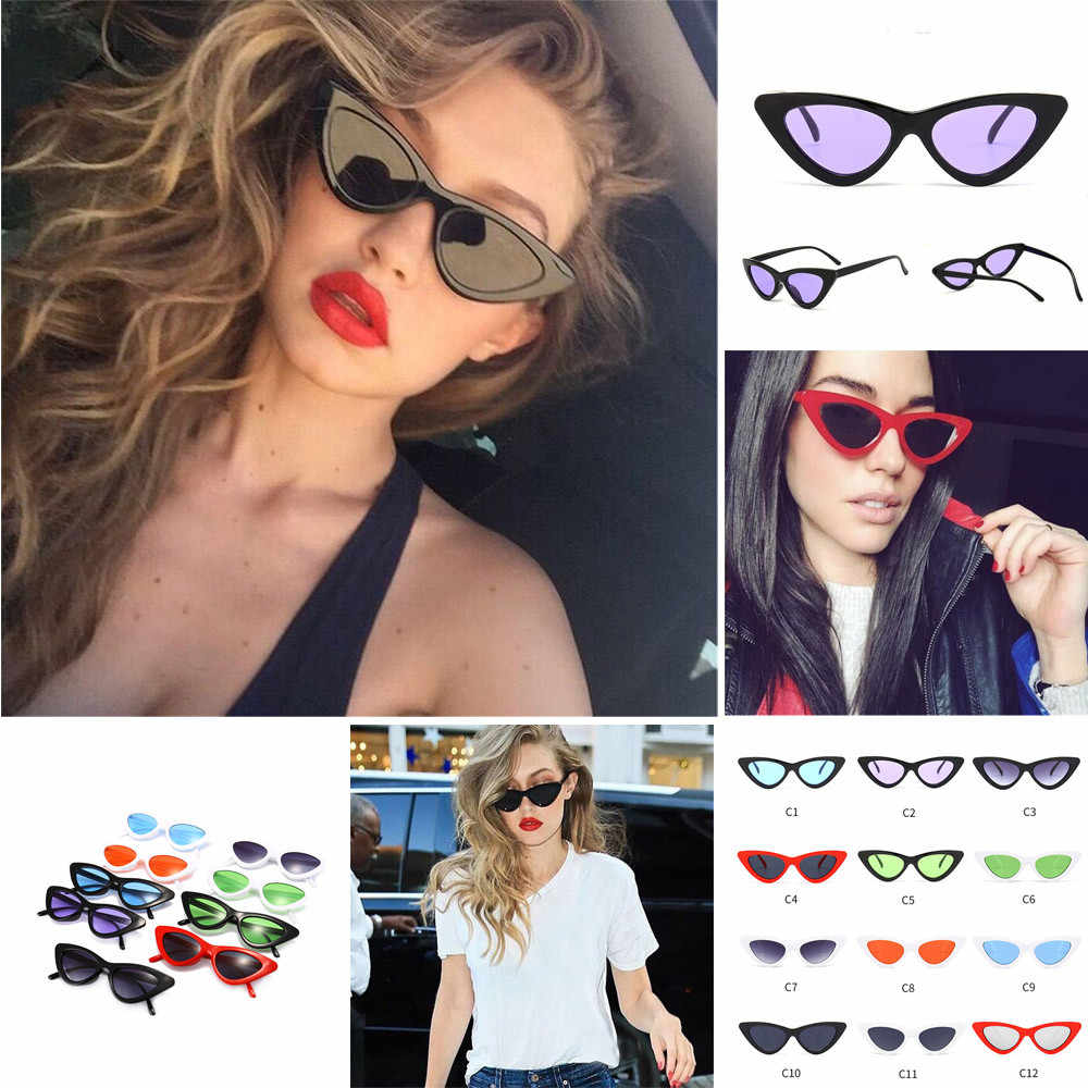 New Women Fashion Cat Eye Shades Sunglasses Integrated UV Candy Colored Glasses Radiation protection Glasses Women Accessories