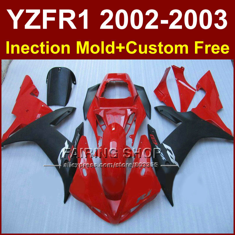 Red black custom fairing for YAMAHA bodywork YZF1000 02 03 YZFR1 2002 2003 yzf r1 molde body parts Aftermarket +7gifts
