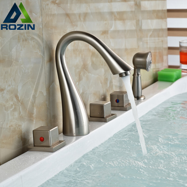 5pcs Deck Mounted Waterfall Bathtub Bath Tub Faucet with Handheld ...