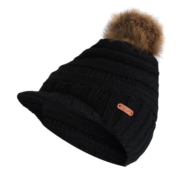 Winter Solid Knitted Hat female Gorras Bonnet   Beanies   Warm Pompom Baggy Winter Hat Women's winter Cap Women's   Skullies     Beanies