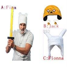 O envio gratuito de Aventura Finn e Jake FINN pelúcia cosplay humano Fionna traje macio cap hat beanie moda tamanho grande de Alta qualidade