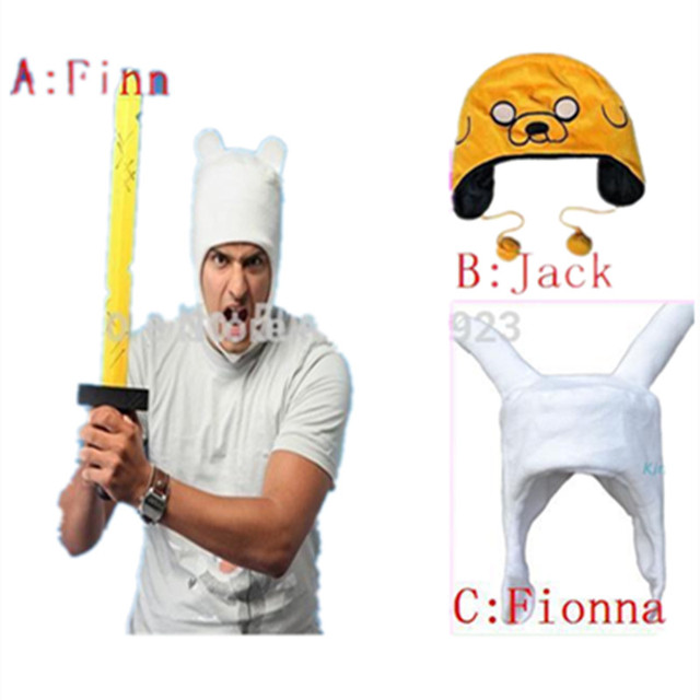 Free shipping Adventure Time Finn and Jake plush FINN human cosplay costume soft cap hat beanie fashion big size High quality
