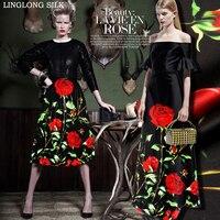 PRINTED SILK WOOL SATIN 140cm Width 40mm 35 Silk 65 Wool Satin Fabric Black With Rose
