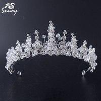 Akcesoria Do Włosów Ślubne Snuoy White Crystal Flower Fairy Moda Dla Nowożeńców Tiara dla Kobiet Opaski Romantyczny Ślub Korony