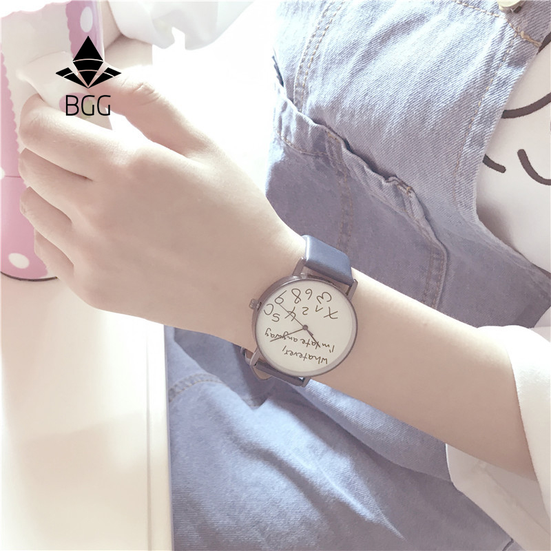 Apa pun yang saya terlambat toh Jam Tangan Kreatif Simple Street Leisure Wanita Quartz Leather Watch Karakteristik Ladies Fashion Hours