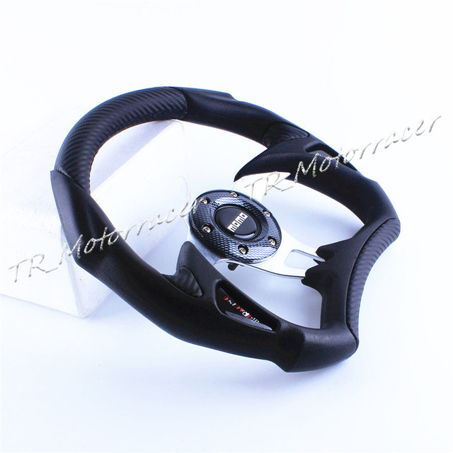 Modification Replacement For Universal Car 6-BOLT Racing Steering Wheel PU Leather Sport F1 JDM Auto D03 Black