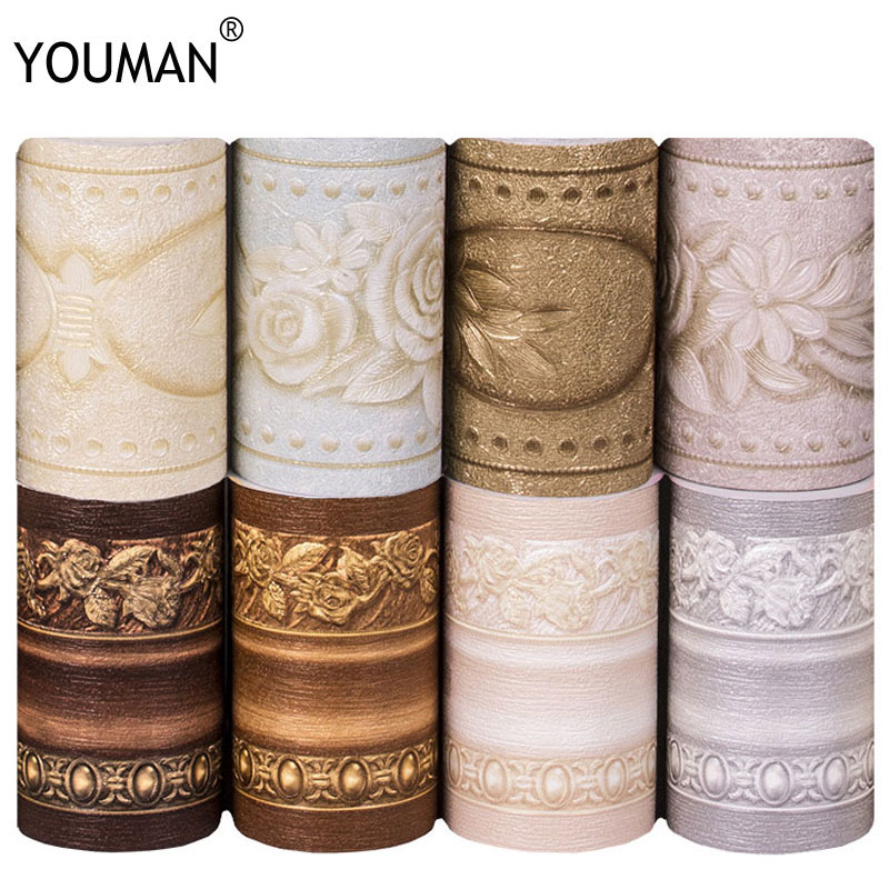 Wallpapers YOUMAN Wallpaper Borders PVC Wall Stickers Vinyl Waterproof Home Decor Emboss Kids Room Bathroom Self Adhesive DIY