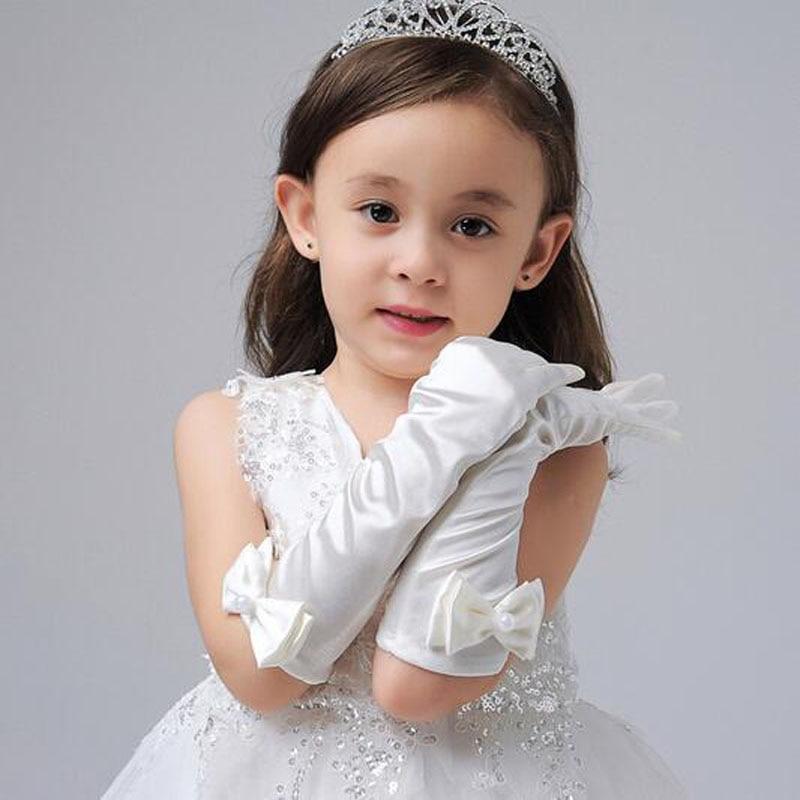 1 Pair New Long Girl Gloves Bowknot Princess Girls Gloves