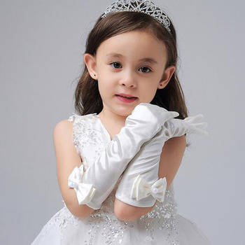 1 Pair New Long Girl Gloves Bowknot Princess Girls Gloves for Children's Day Prom Dance Party Accessories Gloves for Girls 2019