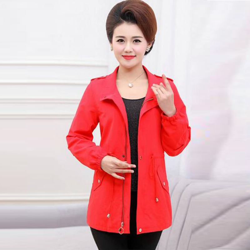 Trench-Coat Windbreaker Spring Female Autumn Plus-Size Casual Women New 5XL Solid RE2519