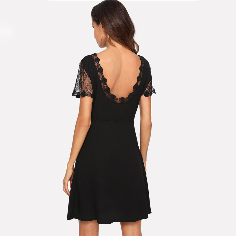 COLROVIE Black V Neck Embroidered Mesh Insert Fit And Flare Lace Party Dress 2018 Autumn Short Sleeve A Line Sexy Women Dress 6