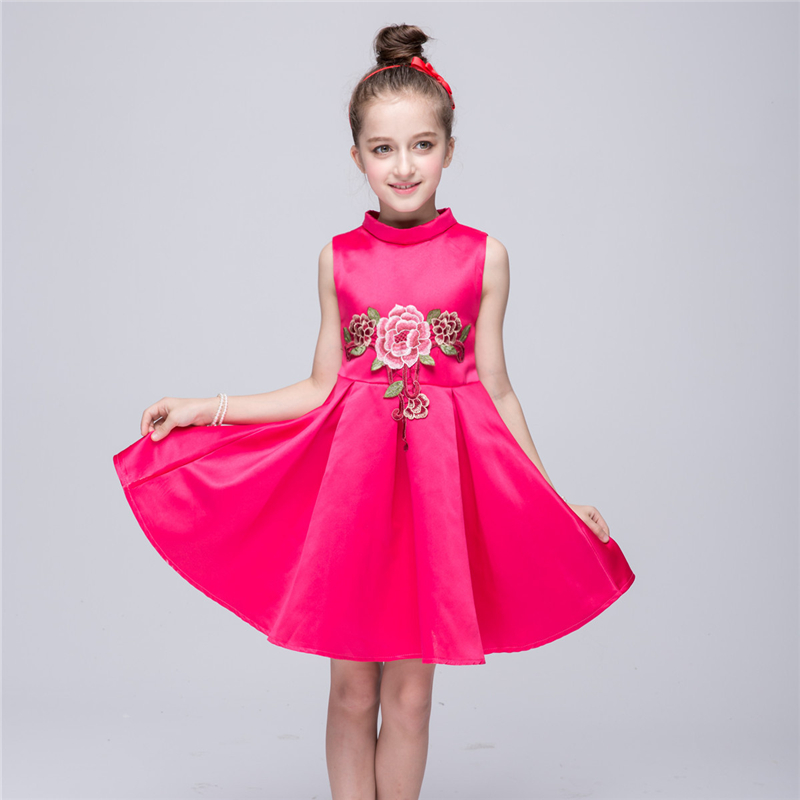 Flower     Girl     Dresses     Girl   Princess Embroidered Bubble   Dresses   Navy Blue & Hot Pink