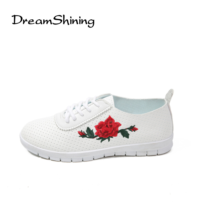 DreamShining Summer Breathable Loafers Flowers Platform Shoes Woman Casual Lace-Up Creepers Solid Women Flats Shoes Embroidered dreamshining summer women shoes casual cutouts lace canvas shoes hollow floral breathable platform flat shoe sapato feminino