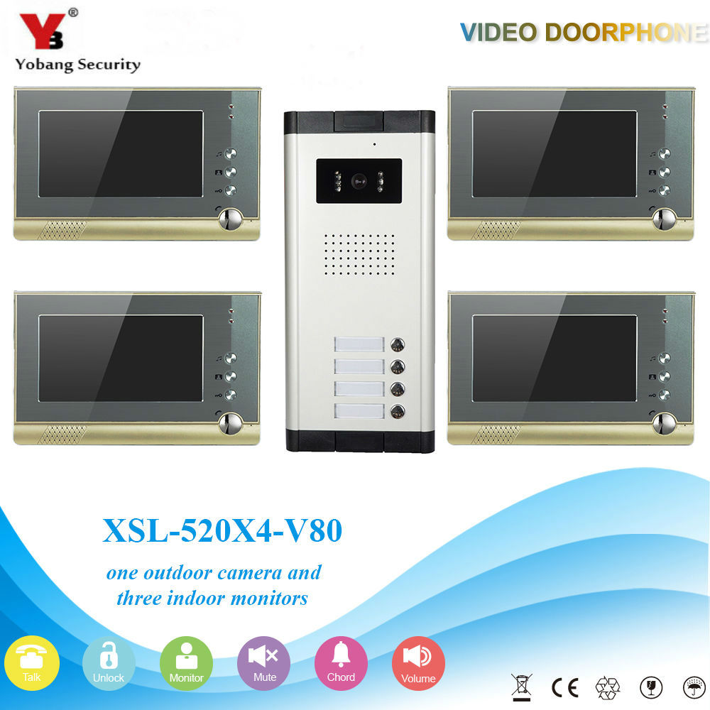 YobangSecurity Villa Apartment Eye Door bell 7TFT LCD Color Video Door Phone Doorbell Intercom System 1 Camera 4 Monitor freeship 10 door intercom security system hands free monitor color tft lcd screen intercom system video door phone for villa