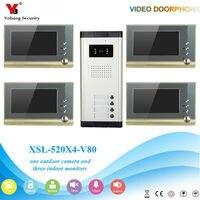 YobangSecurity Villa Apartment Eye Door bell 7TFT LCD Color Video Door Phone Doorbell Intercom System 1 Camera 4 Monitor