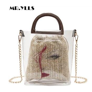 Fashion Wooden Handle Chains Women Handbag Transparent Jelly Bags Summer Handmade Straw Beach Bag Casual Women Tote Lady Bolsa алиэкспресс сумка прозрачная