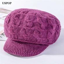 USPOP новые утолщенные вязаные шапки женские из кроличьей шерсти Восьмиугольные шляпы с бархатной подкладкой newsboy шапки женские зимние шапки Теплый козырек