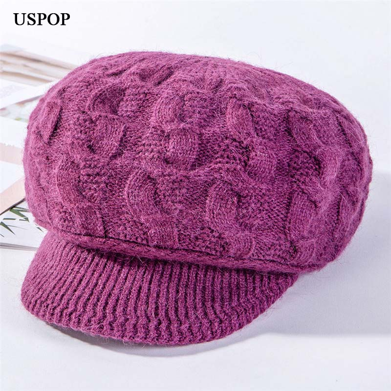 USPOP 2019 New Thickened Knit Hats Women Rabbit Hair Octagonal Hats Velvet Lining Newsboy Caps Female Winter Hats Warm Visor Cap