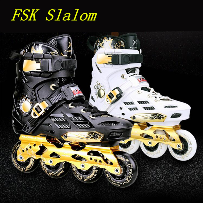 Advanced FSK Slalom Inline Skates Shoes with 85A PU Wheel ABEC-9 Breathable Outdoor Sports Equipment Skating Shoes Size 36 to 44 slalom fsk inline skates patines for adults daily skating sports with 85a pu wheels abec 7 bearing aluminium alloy frame base