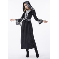 Medieval Gothic Long Dresses For Halloween Witchcraft Larp Black Cape Costumes Adult Women Masquerade Queen Cosplay Costume