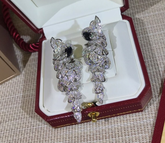 Hot fashion party jewelry full zircon Parrot earrings with black eyes bird earrings women lady accessories famous brand jewelry
