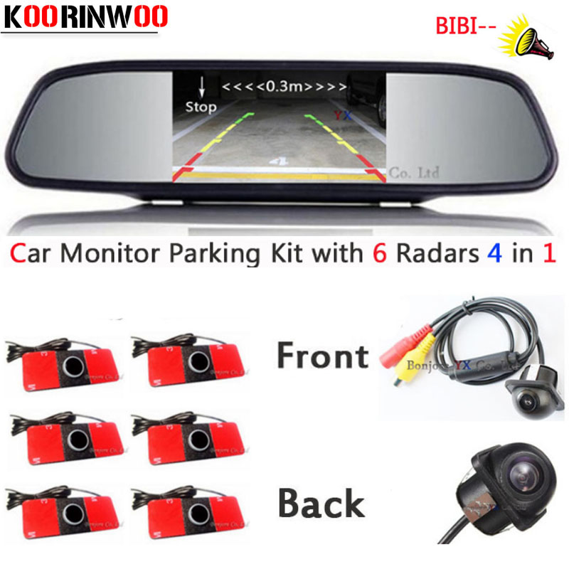 Koorinwoo 2018 Car parking Sensor 6 Distance on Monitor Rear view Parktronic System Reverse radar Video backup Car camera System dual channel video car 6 pcs 13mm flat parking sensors reverse backup radar system with front view camera and rear view camera