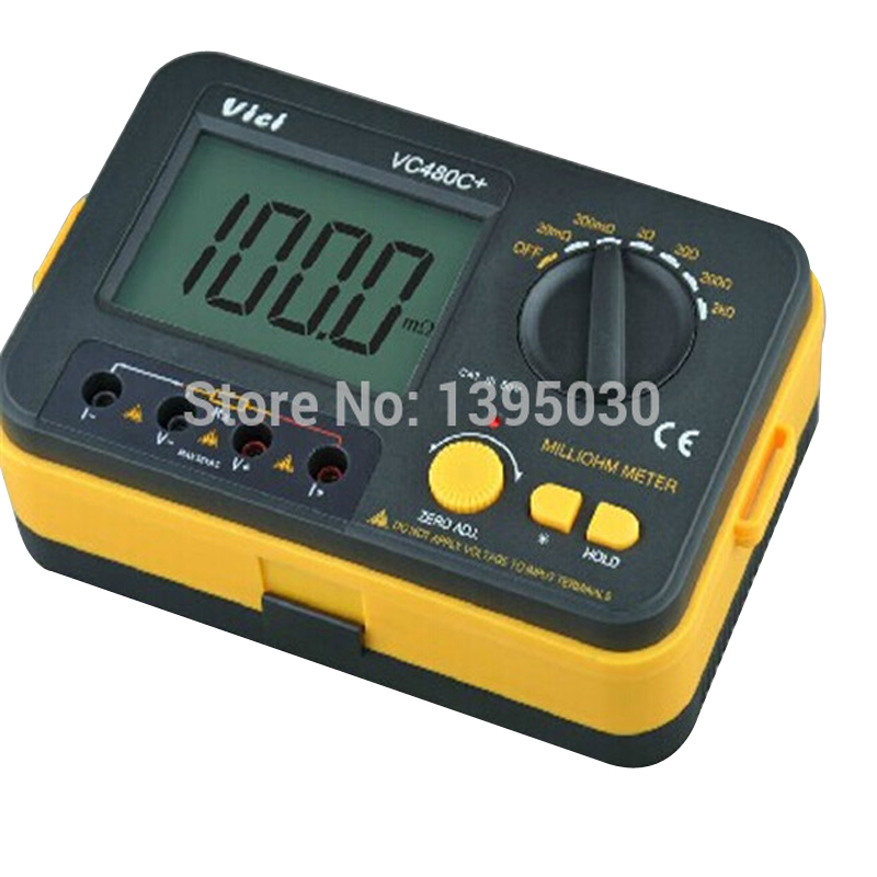 1pcs new Digital  Meter multimeter VC480C+ 3 1/2 Digital Milli-ohm Meter Resistance Tester 4 wire Test w/LCD excel dt9205a 3 lcd digital multimeter black orange 1 x 6f22