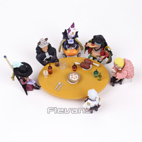 Anime One Piece Seven Warlords of the Sea Conference Table + Members PVC Figures Toys Set
