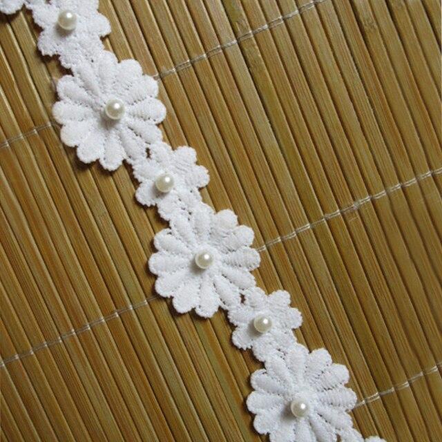 2 mét 35 mét Trắng Sữa Hoa Sợi Ngọc Trai Ren Cạnh Trim Ribbon Vải Thêu Đính May Craft Wedding Dress quần áo